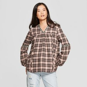 NEW! Plaid Long Sleeve Popover Knox Rose